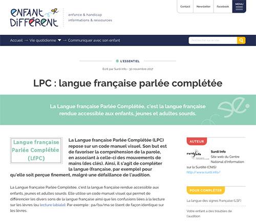 """Article """"Enfant Différent"""" sur la LPC"""