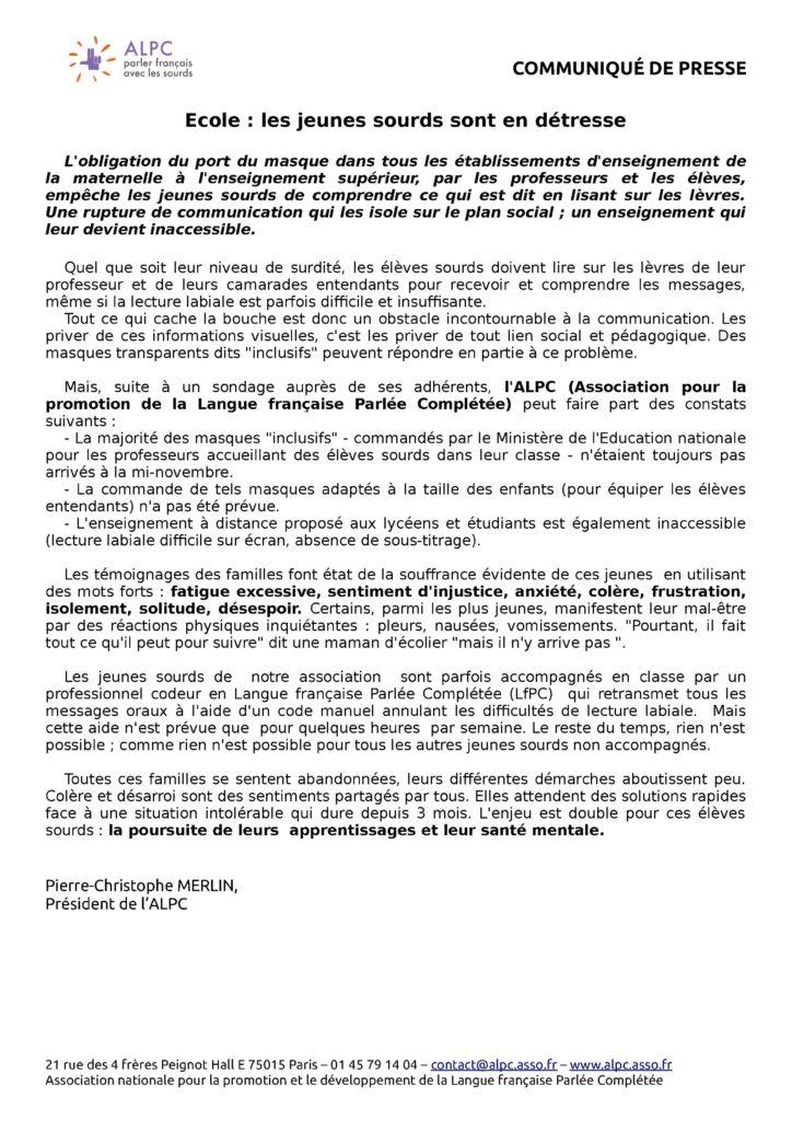 Communiqué Presse ALPC - Covid et scolarité des élèves sourds