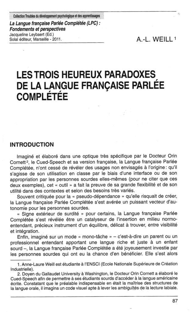 Les 3 heureux paradoxes de la LfPC - Anne-Laure WEILL